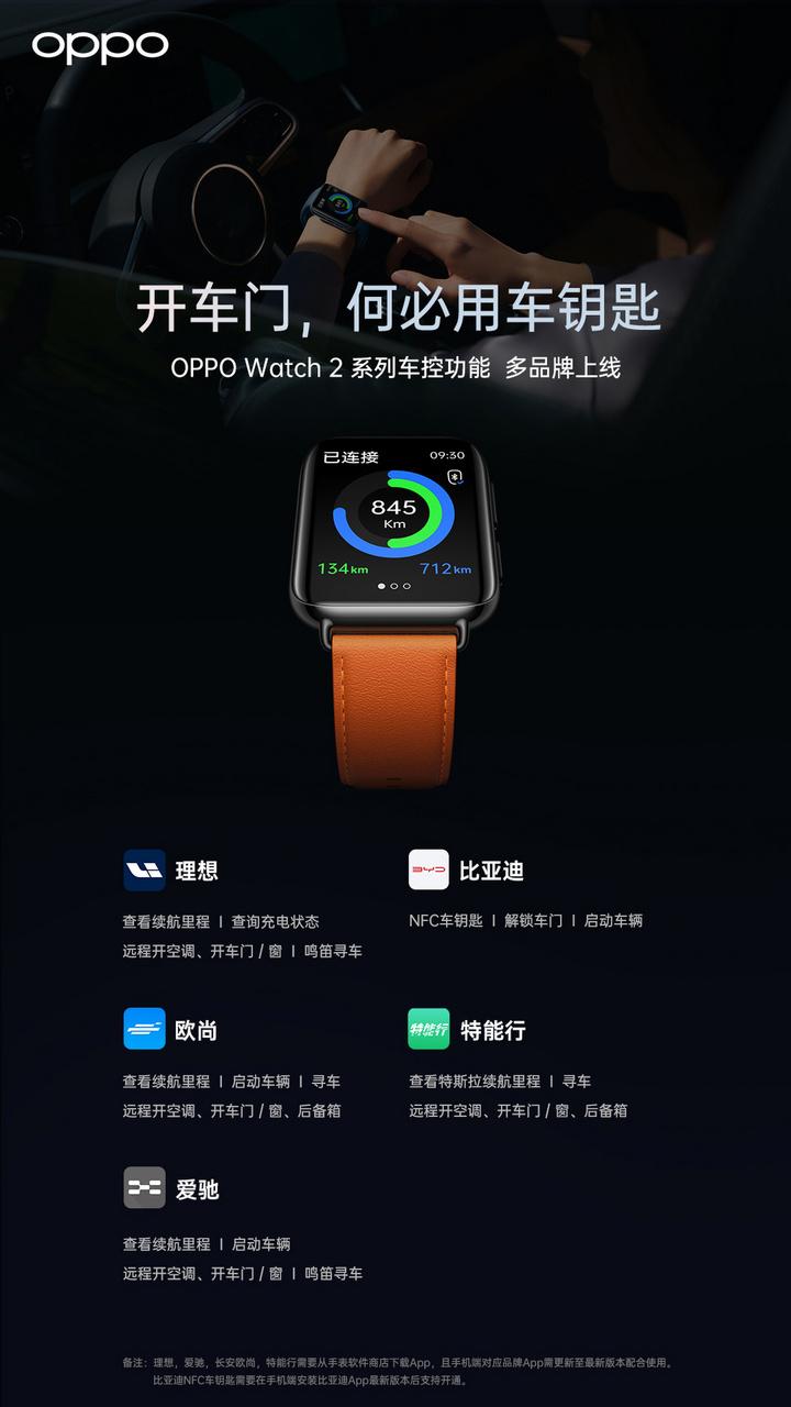 OPPO 为比亚迪、理想汽车、特斯拉等厂商推出车控功能,手表即可开车门